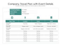 Company Travel Plan With Event Details
