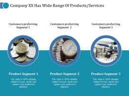 Company Xx Has Wide Range Of Products Services Ppt Pictures Examples