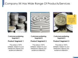 Company Xx Has Wide Range Of Products Services Ppt Pictures Graphics Design