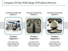 Company Xx Has Wide Range Of Products Services Ppt Show Smartart