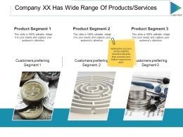 Company Xx Has Wide Range Of Products Services Ppt Slides Graphic Images