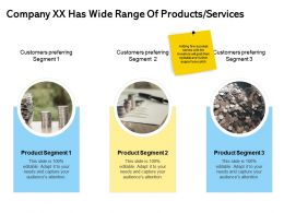 Company Xx Has Wide Range Of Products Services Segment Ppt Powerpoint Visuals