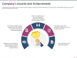 Companys Awards And Achievements Pitch Deck Raise Grant Funds Public Corporations Ppt Tips