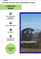 Companys Business And Investor Relation Contact Presentation Report Infographic PPT PDF Document