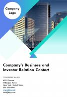 Companys Business And Investor Relation Contact Template 38 Report Infographic PPT PDF Document