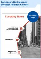 Companys Business And Investor Relation Contact Template 66 Presentation Report Infographic PPT PDF Document