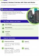 Companys Business Overview With Vision And Mission Presentation Report Infographic PPT PDF Document