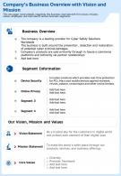 Companys Business Overview With Vision And Mission Template 67 Report Infographic PPT PDF Document