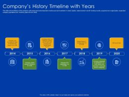 Companys History Timeline With Years 2014 To 2020 Ppt Powerpoint Presentation Lists
