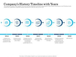 Companys History Timeline With Years Ppt Powerpoint Presentation Professional Icons