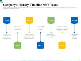 Companys History Timeline With Years Series Ppt Powerpoint Presentation Icon Professional