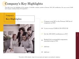 Companys Key Highlights Manufacturing Company Performance Analysis Ppt Layouts