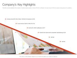 Companys Key Highlights Ppt Powerpoint Presentation Diagram Images