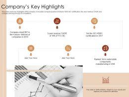 Companys Key Highlights Ppt Powerpoint Presentation Icon Sample