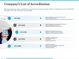 Companys List Of Accreditation To Comply Ppt Powerpoint Presentation File Ideas