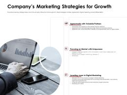 Companys Marketing Strategies For Growth Agreements Ppt Powerpoint Presentation Brochure