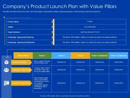 Companys Product Launch Plan With Value Pillars Pain Points Ppt Slides