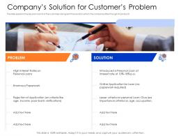 Companys Solution For Customers Problem Mezzanine Capital Funding Pitch Deck Ppt Gallery Graphic Tips