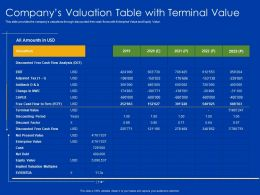 Companys Valuation Table With Terminal Value Net Debt Powerpoint Presentation Aids