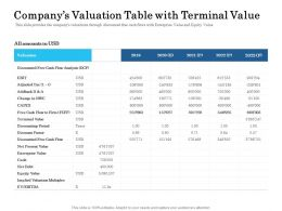 Companys Valuation Table With Terminal Value Ppt Powerpoint Presentation Layouts Topics