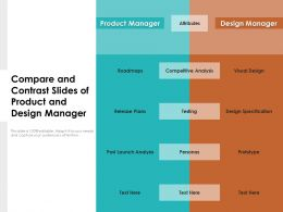 Compare And Contrast Slides Of Product And Design Manager