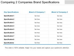 Comparing 2 Companies Brand Specifications Ppt Examples