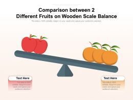 Comparison Between 2 Different Fruits On Wooden Scale Balance