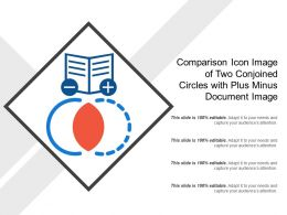 Comparison Icon Image Of Two Conjoined Circles With Plus Minus Document Image