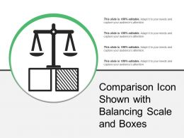 Comparison Icon Shown With Balancing Scale And Boxes