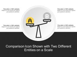 Comparison Icon Shown With Two Different Entities On A Scale