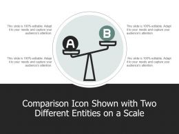 Comparison Icon Shown With Two Different Entities On A Scale A101 Ppt Powerpoint Presentation