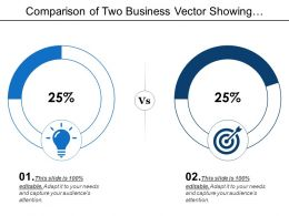 Comparison Of Two Business Vector Showing Percentage