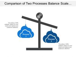 Comparison Of Two Processes Balance Scale Clouds With Gears Image
