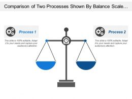Comparison Of Two Processes Shown By Balance Scale And Gear In Middle