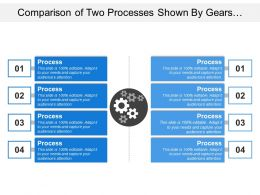 Comparison Of Two Processes Shown By Gears And Text Boxes
