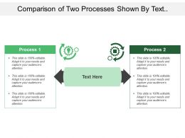 Comparison Of Two Processes Shown By Text Boxes Gears And Bulb