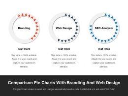 Comparison Pie Charts With Branding And Web Design