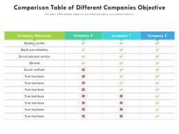 Comparison Table Of Different Companies Objective