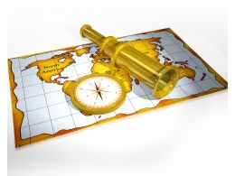 Compass Map And Binoculars For Marine Navigation Stock Photo