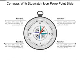 Compass With Stopwatch Icon Powerpoint Slide