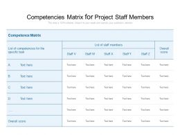 Competencies Matrix For Project Staff Members