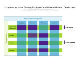 Competencies Matrix Showing Employee Capabilities And Product Development
