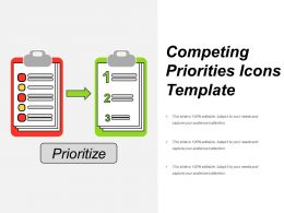 Competing Priorities Icons Template Powerpoint Layout