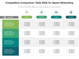 Competition Comparison Table Slide For Speed Networking Infographic Template