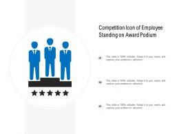 Competition Icon Of Employee Standing On Award Podium
