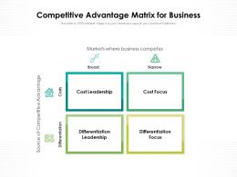 Competitive Advantage Matrix For Business