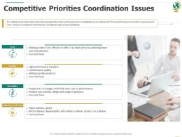 Competitive Priorities Coordination Issues Ppt Powerpoint Presentation Show Good