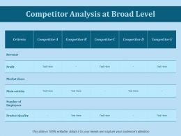 Competitor Analysis At Broad Level Ppt Slides Icon