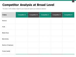 Competitor Analysis At Broad Level Revenue Ppt Powerpoint Presentation Outline