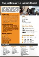 Competitor Analysis Example Report Presentation Report Infographic PPT PDF Document